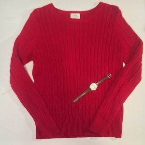 St John's Bay Cable Knit Red Sweater. Size M